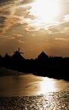 Windmills in Zaanse Schans museum Stock Images