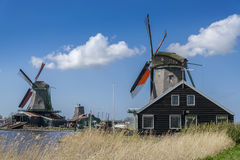 Windmills in Zaanse Schans near Amsterdam Royalty Free Stock Image