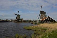 Windmills of Zaanse Schans, Netherlands. Windmills of Zaanse Schans on a sunny day in spring Stock Image