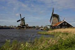 Windmills of Zaanse Schans, Netherlands. Windmills of Zaanse Schans on a sunny day in spring Royalty Free Stock Image