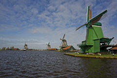 Windmills of Zaanse Schans, Netherlands. Windmills of Zaanse Schans on a sunny day in spring Stock Photo