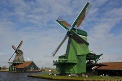 Windmills of Zaanse Schans, Netherlands Stock Image