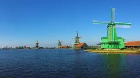 Windmills at Zaanse Schans in North Holland stock image