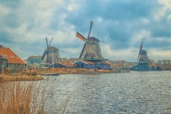 Windmills of Zaanse Schans, Netherlands. Stock Images