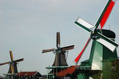 Windmills in Zaanse schans Stock Photos