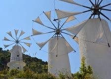 Windmils greci tradizionali. Immagine Stock