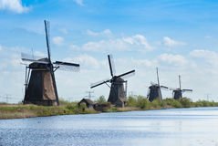 Windmils in Kinderdijk, Netherlands Royalty Free Stock Images