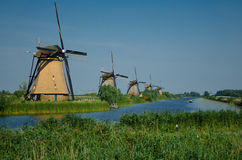 Windmils near Kinderdijk, Netherlands Royalty Free Stock Image