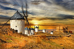 Windmils of Spain. Castilla la mancha Stock Photo