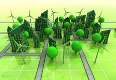 Het windmolen aangedreven concept van het stadsnet royalty-vrije illustratie