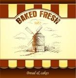 Windmolen bakkerij Naadloos patroon als achtergrond royalty-vrije illustratie