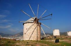 Windmolen in Bodrum Stock Afbeeldingen