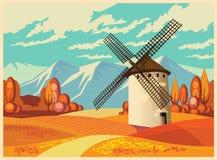 Windmolen in de herfst oude affiche Royalty-vrije Stock Foto's