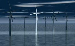 Windmolen in de schijnwerper Royalty-vrije Stock Afbeelding