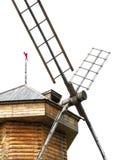 Windmolen die op wit wordt geïsoleerdn Stock Foto