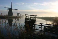 Windmolen in Kinderdijk Royalty-vrije Stock Fotografie