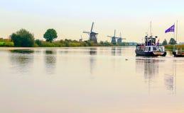 Windmolen in Kinderdijk Royalty-vrije Stock Foto