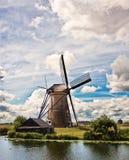 Windmolen in Kinderdijk Royalty-vrije Stock Afbeelding