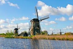 Windmolen in Kinderdijk, Holland Stock Afbeeldingen
