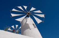 Windmolen in Kreta Griekenland Stock Fotografie