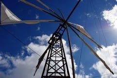 Windmolen in Kreta Griekenland stock afbeeldingen
