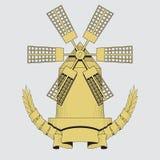 Windmolen Landbouw, de landbouw, bakkerijembleem of etiket Uitstekende vectorillustratie stock illustratie