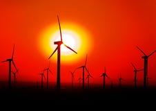 Windmolen met Rode Achtergronden Stock Foto's