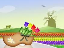 Windmolen in Nederlands landschap vector illustratie