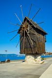 Windmolen in Nesebar, Bulgarije Stock Afbeeldingen