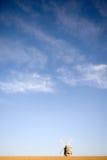 Windmolen op een heuveltop met blauwe hemelen royalty-vrije stock foto's