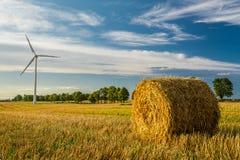 Windmolen op het gebied dat gezonde energie veroorzaakt Stock Afbeeldingen