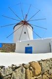 Windmolen op Mykonos Stock Foto's