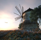 windmolen op zonsondergangachtergrond en de technologieconcept van de vliegtuigreis Stock Afbeelding
