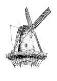 Windmolen oude retro uitstekende tekening Stock Afbeelding