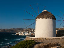 Windmolen over Mykonos Royalty-vrije Stock Afbeeldingen