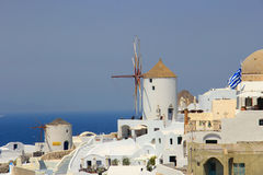 Windmolen in Santorini, Griekenland Royalty-vrije Stock Foto's