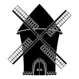Windmolen Zwart symbool vector illustratie