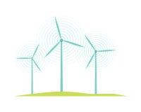 Windmolenpictogrammen op Witte Vlakke Ontwerpstijl die worden geïsoleerd Royalty-vrije Stock Foto