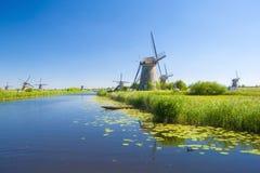 Windmolens 1 van Kinderdijk Stock Foto's