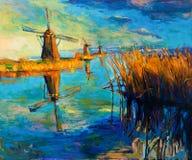 Windmolens royalty-vrije illustratie