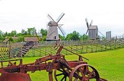 Windmolens in Angla-museum, Saaremaa-eiland, Estland Stock Fotografie