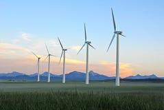 Windmolens bij schemer Stock Fotografie