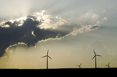 Windmolens bij zonsondergang Stock Foto's