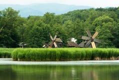 Windmolens dichtbij het meer stock afbeelding