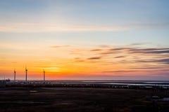 Windmolens die in de wind in Atlantic City, New Jersey blazen Royalty-vrije Stock Foto's