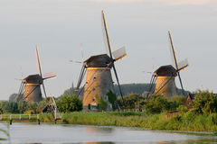 Windmolens in Kinderdijk Royalty-vrije Stock Foto's