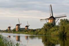 Windmolens in Kinderdijk royalty-vrije stock afbeeldingen