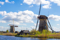 Windmolens in Kinderdijk, Holland Stock Afbeelding