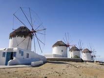 Windmolens in Mykonos Royalty-vrije Stock Fotografie