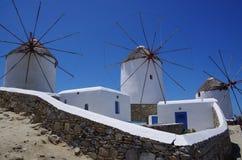 Windmolens in Mykonos-eiland, Griekenland stock afbeelding